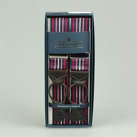 Albert Thurston Braces multi stripe pink