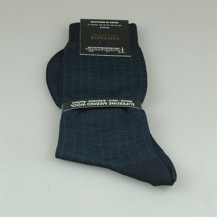 Pantherella Sock navy check merino