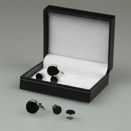 Shoes & Shirts Onyx cufflinks + studs