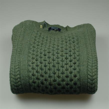 William Lockie Cable crew neck wool