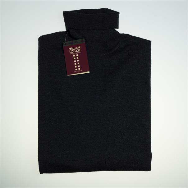 William Lockie Roll collar merino charcoal