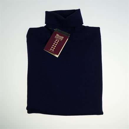 William Lockie Roll collar merino navy