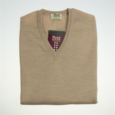 William Lockie Vee neck merino camel