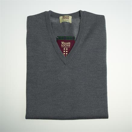 William Lockie Vee neck merino charcoal